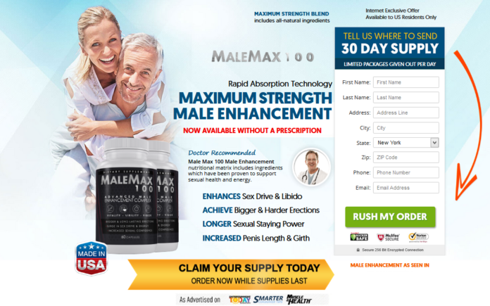 Male Max 100 fast acting male enhancement formula